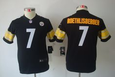 Nike Steelers Ben Roethlisberger Black Team Color With Patch Youth  Embroidered NFL Limited Jersey 27c47d781