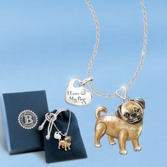 PUG PLAYFUL PUP PENDANT [01-14149-001] - Bradford Exchange, Hamilton Collection, and Ashton Drake Collectibles
