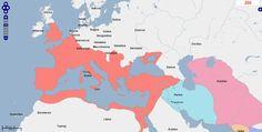 ➯ Ver en Pinterest: #99 #Mapa de Europa, Oriente Medio y África del Norte, Año 200.  Fuente: geacron.com