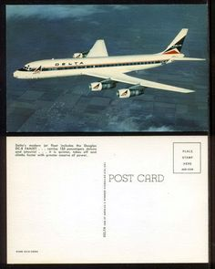 Delta Airlines Douglas DC-8 Fanjet Issued Postcard