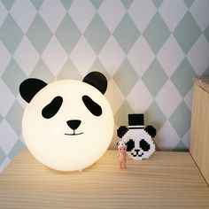 IKEA table lamp turned into panda lamp. The little one would love this!