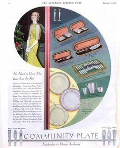 1931 Community Plate silver ad. The Saturday Evening Post.