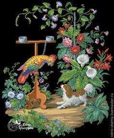 Купить или заказать Схема вышивки 'Попугай и собака' в интернет-магазине на Ярмарке Мастеров. Авторская реконструкция старинной схемы для вышивания крестом 1840-1858 годов по старинному, раскрашенному вручную бумажному шаблону. Издательство C. Franke & Siecke. К схеме прилагается ключ в цветовой палитре ниток DMC, а также возможные размеры готовой вышивки на 14, 16, 18 и 25 канве. Схема в электронном виде, в формате PDF. Можно заказать цветной или черно-белый вариант схемы по вашему жел…