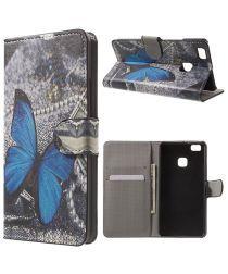 Huawei P9 Lite Portemonnee Blue Butterflies