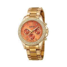 Women's August Steiner Quartz Genuine Diamond Bracelet Watch - Gold... ($65) ❤ liked on Polyvore featuring jewelry, watches, black, gold diamond watches, diamond dial watches, orange watches, august steiner watches and gold wristwatches