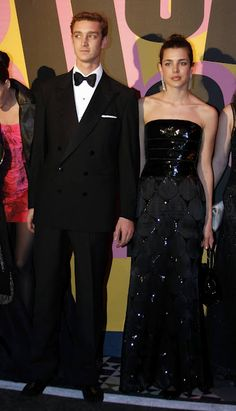 Charlotte Casiraghi, in Chanel S09 Couture, and her brother, Pierre, at The Rose Ball, March 28, 2009