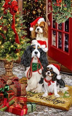 """New for 2013! Cavalier King Charles Spaniel Christmas Holiday Cards are 8 1/2"""" x 5 1/2"""" and come in packages of 12 cards. One design per package. All designs include envelopes, your personal message, and choice of greeting.Select the inside greeting of your choice from the menu below.Add your custom personal message to the Comments box during checkout."""