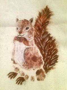 Footprint squirrel on a tote bag!