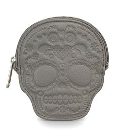 Loungefly Gray Embossed Sugar Skull Coin Purse