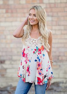 Here I Go Floral Crochet Lace Tank Ivory