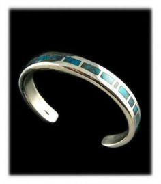 High Grade Bisbee Turquoise Inlay Bracelet by Bill Anderson and John Hartman.  WOW... felt like keeping this one for myself
