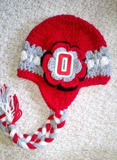 Girl's Ohio State Buckeye Scarlet and Grey by HotOffTheHookCrochet, $29.00