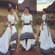 Photos of Traditional Xhosa Wedding Photos: South African + Traditional + Wedding + Dresses Traditional Dresses Designs, African Traditional Wedding Dress, Traditional Wedding Attire, African Wedding Dress, African Print Dresses, African Dress, Traditional Outfits, African Prints, Traditional Weddings