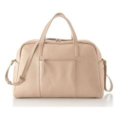 Mark & Graham The Daily Overnighter, Leather, Blush ($375) ❤ liked on Polyvore featuring bags, blush, beige bag, monogram weekend bag, leather weekender bag, pocket bag and monogram leather bag