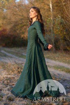 SALE Medieval Renaissance Flax Linen Dress Autumn by armstreet