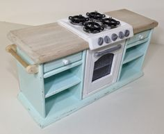 Once Upon A Doll Collection : Shabby Chic Kitchen, Dollhouse Part 5 - kitchen built of craft store wood with construction photo