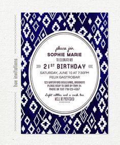 geometric 21st birthday party invitation tribal by hueinvitations