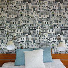 Coastal cottage wallpaper by Jessica Hogarth