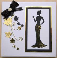 Tattered Lace Oliva Die, paper pieced with black and gold card. Birthday Cards For Women, Handmade Birthday Cards, Greeting Cards Handmade, Cumpleaños Diy, Art Deco Cards, Tattered Lace Cards, Dress Card, Embossed Cards, Die Cut Cards