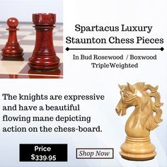 Our Spartacus series chess pieces are named so after the famous gladiator who lead a history defining uprising against the Roman Republic. Each piece is lovingly hand carved and turned by our master carvers to create a heirloom quality masterpiece. #chessgames #playchess #chesstime #art #catur #chesspieces #gameofchess #boardgames #chessnews #chessbase #chesslovers #chessman #puzzle #chessrush #chessqueen #checs #chess #chessplayer #chessgame #chessmoves #chessmaster #chesslife #chesspiece Spartacus Series, Chess Moves, Wood Chess Board, Roman Republic, Chess Players, Chess Pieces, Board Games, Knight