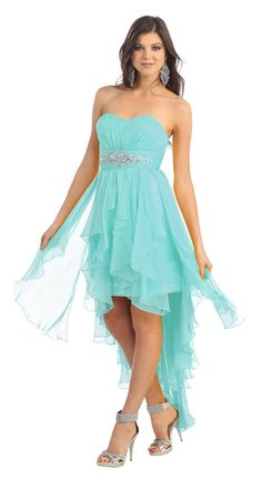 This strapless sweetheart gown has a ruched bust with a rhinestone waist. The skirt is a mini from and a long back. The skirt is made up of layers of sheer ruffles perfect for dancing the night away F Grad Dresses Short, Blue Bridesmaid Dresses, Homecoming Dresses, Formal Dresses, Wedding Dresses, Aqua Dresses, Hoco Dresses, Graduation Dresses, Lace Dress