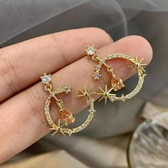 2020 Dominated New geometric shiny crystal earrings Korean Women tempe – Touchy Style