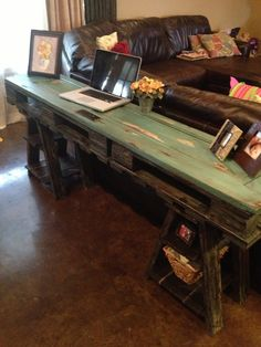 love love love this - wood desk / table made from a vintage door and pallets.