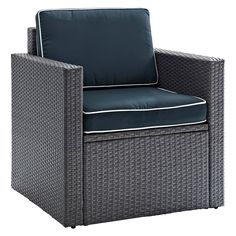Palm Harbor Outdoor Club Chair In Gray Wicker with Navy Cushions - Crosley, Gray/Blue