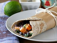 maple•spice: Cumin Roasted Sweet Potato and Black Bean Wrap with a Chilli Lime Yogurt Dressing