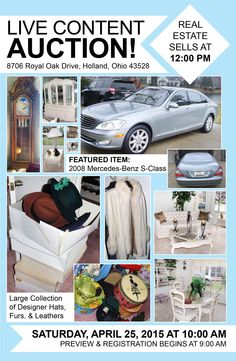 Live Content Auction! 8706 Royal Oak Drive, Holland, Ohio 43528 Saturday, April 25, 2015 at 10:00 am Preview & Registration begins at 9:00 am  http://www.pamelaroseauction.com/personal-property-2/  View More info & Photos at the link above! Pamela Rose Auction Co. LLC (419) 865-1224