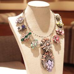 Wholesale 2013 Colorful Luxury shourouk necklace Beautiful Choker Crystal chunky flower Chain Fashion Necklaces pendant women-inChain Neckla...