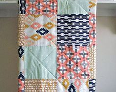 Modern Baby Quilt - Arizona - Patchwork - Mint, Coral, Dark Navy, White, Mustard - Tribal Quilt - Southwestern Toddler Quilt - Minky Back