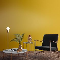 Taken from the mustard tones within Kingdom Lion, Lioness is powerful, yet liveable. Queen of the Jungle, this shade trumps all other yellows, by being a modern day mustard. Pair with grey accessories to create a modern haven. Yellow House Exterior, Yellow Accent Walls, Taupe Paint, Riverside House, Paint Shades, Yellow Houses, Graham Brown, Gold Wallpaper, Gold Walls