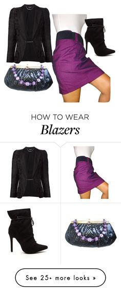 """Skirt and Blazer"" by sillycatgrl on Polyvore featuring BCBGeneration, Alexander McQueen and Judith Leiber"