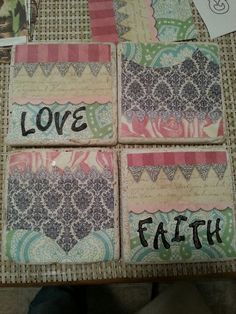 Diy coaster! Created with blank tiles, scrapbook paper & letter stamps!