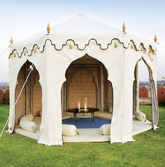 Elegant: The Maharani Garden Tent, from the India Garden Company, is styled on the traditional pavilions of Northern India, with canvas decorated with embroidery inside