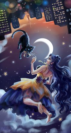Moon by Skarlessa on DeviantArt Sailor Moon Cat, Arte Sailor Moon, Sailor Uranus, Sailor Moon Crystal, Sailor Mars, Sailor Moon Background, Sailor Moon Wallpaper, Luna Et Artemis, Serenity