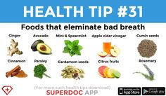 """Foods that Eliminate Bad Breath"" Teeth Implants, Dental Implants, Heath Tips, Bad Breath Remedy, Teeth Health, Daily Health Tips, Cosmetic Dentistry, Mouthwash, Good Morning Quotes"