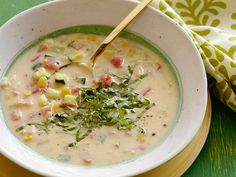 Creamy Corn and Vegetable Soup recipe from Ellie Krieger via Food Network