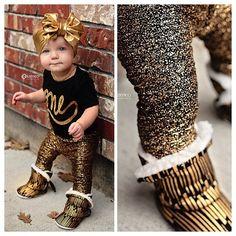 Fricken Adorable!!  Sparkle Leggings  Gold leggings  Metallic by IsabellaCoutureShop