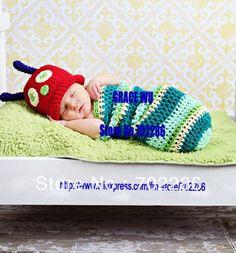 Wholesale Animal costume clothing Baby Costumes Crocheted photo prop newborn Hungry Caterpillar Costume(China (Mainland))