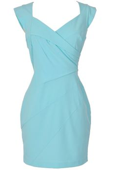 Crossover Designer Sheath Dress With Mini Sleeves in Aqua  www.lilyboutique.com