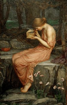 """John William Waterhouse """"Psyche Opening the Golden Box"""" Oil on canvas Pre-Raphaelite Psyche is the mortal woman in Greek mythology who becomes the wife of Eros, and also divine. John William Waterhouse, Classic Paintings, Beautiful Paintings, Pre Raphaelite Paintings, Art Magique, Illustration Art, Illustrations, Classical Art, Renaissance Art"""