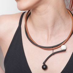 Double Strand Leather Cord Necklace in Black and by natartg