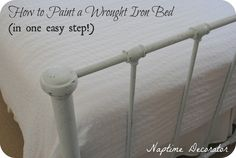 I'd been thinking about painting my bed frame for what seems like forever. Never really knew how I would paint it. It's black wrought iron. Lots of skinny spindles (I guess that's what they're call...