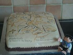 Lord of the rings map, my son's birthday cake