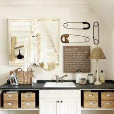 laundry room, love the big pins