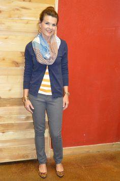 Grey jeans, striped tee, cardigan, scarf + leopard print flats