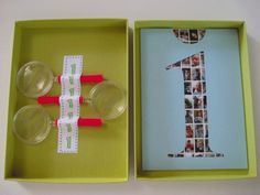 Mini photos and magnifying glass, perfect for first birthday