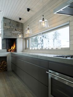 Kitchen-Fireplace/oven in Norwegian kitchen; Chalet Design, Küchen Design, Deco Design, Design Ideas, Oven Design, Design Concepts, Design Trends, Style At Home, Interior Architecture
